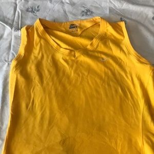 yellow nike muscle tee
